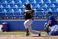 Pittsburgh Pirates Troy Stokes Jr. bats during a Major League Spring Training game against the Toronto Blue Jays on March 1, 2021 at TD Ballpark in Dunedin, Florida.  (Mike Janes/Four Seam Images)
