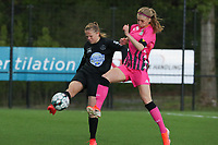Martyna Rakowicz (38) of Woluwe  and Ludmila Matavkova (9) of Charleroi   pictured during a female soccer game between Sporting Charleroi and White Star Woluwe on the 7 th matchday in play off 2 of the 2020 - 2021 season of Belgian Scooore Womens Super League , friday 14 th of May 2021  in Marcinelle , Belgium . PHOTO SPORTPIX.BE | SPP | Sevil Oktem