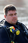 Stress on the face of a rescue diver at Okaukee Lake Wisconsin