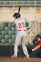 Bobby Dalbec (23) of the Greenville Drive at bat against the Kannapolis Intimidators at Kannapolis Intimidators Stadium on August 9, 2017 in Kannapolis, North Carolina.  The Drive defeated the Intimidators 6-1.  (Brian Westerholt/Four Seam Images)