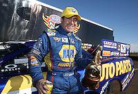 Feb. 24, 2013; Chandler, AZ, USA; NHRA funny car driver Ron Capps celebrates after winning the Arizona Nationals at Firebird International Raceway. Mandatory Credit: Mark J. Rebilas-