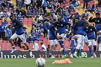 BOGOTA - COLOMBIA -16 -07-2017: Juagadores de Millonarios calientan previo al encuentro entre Millonarios y Independiente Santa Fe por la fecha 2 de la Liga Aguila II 2017 jugado en el estadio Nemesio Camacho El Campin de la ciudad de Bogota. / Players of Millonarios warm up prior the match between Millonarios and Independiente Santa Fe for the date 2 of the Liga Aguila II 2017 played at the Nemesio Camacho El Campin Stadium in Bogota city. Photo: VizzorImage / Gabriel Aponte / Staff.