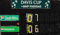 08-07-11, Tennis, South-Afrika, Potchefstroom, Daviscup South-Afrika vs Netherlands, scoreboard