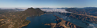 aerial panoramic photograph Clear Lake and Mount Konocti, Lake County, California in the early morning as fog covers the northern part of the lake, Clear Lake Riviera is at the left.  This photograph is a composite of 13 high resolution photographs and will enlarge to 16' wide with exceptional detail.