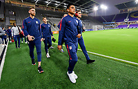 ORLANDO, FL - NOVEMBER 15: Nick Lima #12 of the United States walks onto the field during a game between Canada and USMNT at Exploria Stadium on November 15, 2019 in Orlando, Florida.