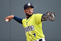 Catcher Ali Sanchez (7) of the Columbia Fireflies warms up before a game against the Greenville Drive on Friday, May 25, 2018, at Spirit Communications Park in Columbia, South Carolina. Columbia won, 3-1. (Tom Priddy/Four Seam Images)