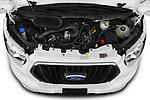 Car Stock 2021 Ford Transit 350-XLT 5 Door Passenger Van Engine  high angle detail view