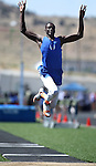 """Bishop Gorman's Demetris Morant won the men's triple jump with a distance of 46'-1/4"""" during the Nevada State Track and Field Championships at Damonte High School in Reno, Nev., on Saturday, May 19, 2012. .Photo by Cathleen Allison"""