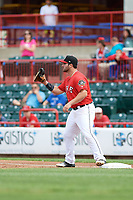 Erie SeaWolves first baseman Wade Hinkle (43) waits to receive a throw during a game against the Hartford Yard Goats on August 6, 2017 at UPMC Park in Erie, Pennsylvania.  Erie defeated Hartford 9-5.  (Mike Janes/Four Seam Images)