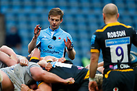 27th March 2021; Ricoh Arena, Coventry, West Midlands, England; English Premiership Rugby, Wasps versus Sale Sharks; Referee Christophe Ridley instructs the scrum to engage
