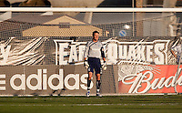 Joe Cannon prepares for the penalty shot. The San Jose Earthquakes tied DC United 2-2 at Buck Shaw Stadium in Santa Clara, California on July 25, 2009.