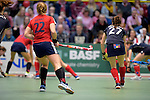 GER - Luebeck, Germany, February 06: During the 1. Bundesliga Damen indoor hockey semi final match at the Final 4 between Berliner HC (blue) and Duesseldorfer HC (red) on February 6, 2016 at Hansehalle Luebeck in Luebeck, Germany. Final score 1-3 (HT 0-1). (Photo by Dirk Markgraf / www.265-images.com) *** Local caption *** Greta Gerke #22 of Duesseldorfer HC, Stefanie Wendt #27 of Berliner HC