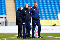 1st May 2021; Weston Homes Stadium, Peterborough, Cambridgeshire, England; English Football League One Football, Peterborough United versus Lincoln City; Peterborough United Manager Darren Ferguson (right) and his coaching staff watch the action