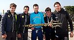 L-R Peter Sagan (SVK), Alberto Contador (ESP), Vincenzo Nibali (ITA), Rigoberto Uran (COL) and Fabian Cancellara (SUI) pictured holding the winner's trophy at press conference to launch the 2015 Tirreno-Adriatico cycle race held in Lido di Camaiore, Lucca, Italy. 10th March 2015. Photo: ANSA/Claudio Peri/www.newsfile.ie