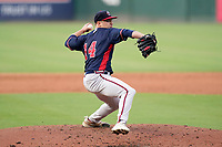 Starting pitcher Jared Shuster (14) of the Rome Braves in a game against the Greenville Drive on Wednesday, August 4, 2021, at Fluor Field at the West End in Greenville, South Carolina. (Tom Priddy/Four Seam Images)