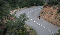 Twisting the climbs up&down the Tossa de Mar training loop out of Girona/Spain