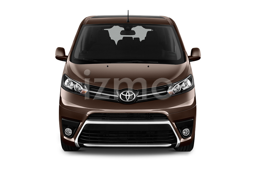 Car photography straight front view of a 2018 Toyota Proace-Verso MPV 5 Door Minivan Front View