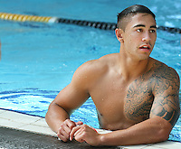 Warrior's Shaun Johnson at their pool session after training at Carisbrook, Moana pool, Dunedin, New Zealand, Friday, February 20, 2013. Credit:NINZ / Dianne Manson.