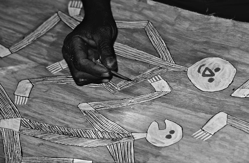 AUSTRALIA ABORIGINAL traditional   painting on Tree bark Mimi spirit figures deep inside Arnhem Land,Northern Territory