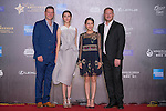 David May, Cecilia So (black dress), Lee Sharpe, and Karena Ng (white dress) walk the Red Carpet event at the World Celebrity Pro-Am 2016 Mission Hills China Golf Tournament on 20 October 2016, in Haikou, China. Photo by Marcio Machado / Power Sport Images