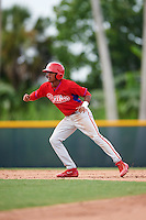 GCL Phillies second baseman Daniel Brito (21) leads off second during a game against the GCL Pirates on August 6, 2016 at Pirate City in Bradenton, Florida.  GCL Phillies defeated the GCL Pirates 4-1.  (Mike Janes/Four Seam Images)