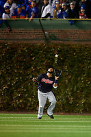 Cleveland Indians left fielder Carlos Santana (41) catches a fly ball in the first inning during Game 5 of the Major League Baseball World Series against the Chicago Cubs on October 30, 2016 at Wrigley Field in Chicago, Illinois.  (Mike Janes/Four Seam Images)
