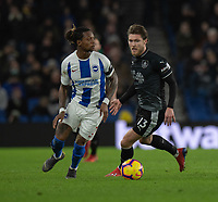 Brighton & Hove Albion's Gaetan Bong (left) under pressure from Burnley's Jeff Hendrick (right) <br /> <br /> Photographer David Horton/CameraSport<br /> <br /> The Premier League - Brighton and Hove Albion v Burnley - Saturday 9th February 2019 - The Amex Stadium - Brighton<br /> <br /> World Copyright © 2019 CameraSport. All rights reserved. 43 Linden Ave. Countesthorpe. Leicester. England. LE8 5PG - Tel: +44 (0) 116 277 4147 - admin@camerasport.com - www.camerasport.com