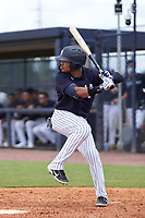 FCL Yankees Madison Santos (34) bats during a game against the FCL Blue Jays on June 29, 2021 at the Yankees Minor League Complex in Tampa, Florida.  (Mike Janes/Four Seam Images)