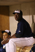 Demi Orimoloye (18) of the AZL Brewers in the dugout during a game against the AZL Athletics at Maryvale Baseball Park on June 30, 2015 in Phoenix, Arizona. Brewers defeated Athletics, 4-2. (Larry Goren/Four Seam Images)