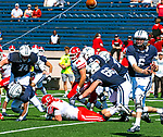 September 28, 2019:  The Yale Bulldogs [blue] defeated the Big Red of Cornell 27-16 in Ivy Leagues action.  Yale remains undefeated [2-0] as the game was played at the Yale Bowl in New Haven, Connecticut. Heary/Eclipse Sportswire/CSM