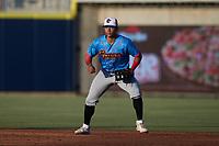 Guerreros de Fayetteville first baseman J.C. Correa (13) on defense against the Rapidos de Kannapolis at Atrium Health Ballpark on June 24, 2021 in Kannapolis, North Carolina. (Brian Westerholt/Four Seam Images)
