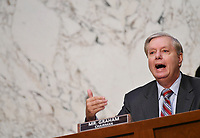 United States Senator Lindsey Graham (Republican of South  Carolina), Chairman, US Senate Judiciary Committee, speaks during a Senate Judiciary Committee business meeting  in the Hart Senate Office Building on Capitol Hill in Washington, DC on October 15, 2020. <br /> Credit: Mandel Ngan / Pool via CNP /MediaPunch