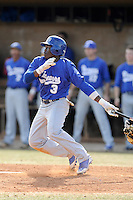 Matt White (3) of the Spartanburg Methodist College Pioneers in a junior college game against Lenoir Community College on February 2, 2014, at Mooneyham Field in Spartanburg, South Carolina. (Tom Priddy/Four Seam Images)