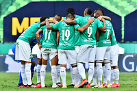 PALMIRA-COLOMBIA, 07-10-2020: Jugadores de Deportivo Cali, durante partido entre Deportivo Cali y La Equidad de la fecha 12 por La Liga BetPlay DIMAYOR 2020-I jugado en el estadio Deportivo Cali (Palmaseca) de la ciudad de Palmira. / Players of Deportivo Cali during a match between Deportivo Cali and La Equidad of the 12th date for the BetPlay DIMAYOR Leguaje 2020-I played at the Deportivo Cali (Palmaseca) stadium in Palmira city. / Photo: VizzorImage / Nelson Rios / Cont.