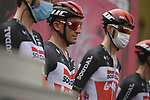 Adam Hansen (AUS) and Lotto-Soudal at sign on before the start of Stage 3 of the 103rd edition of the Giro d'Italia 2020 running 150km from Enna to Etna (Linguaglossa-Piano Provenzana), Sicily, Italy. 5th October 2020.  <br /> Picture: LaPresse/Marco Alpozzi   Cyclefile<br /> <br /> All photos usage must carry mandatory copyright credit (© Cyclefile   LaPresse/Marco Alpozzi)