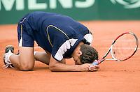 13-7-08, Scheveningen, ITS, Tennis Siemens Open 2008,  Jesse Huta Galung wint de finale en gaat neer op het gravel
