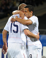 Charlie Davies (right) of USA is congratulated by team-mate Jay DeMerit (15) after scoring the opening goal. USA defeated Egypt 3-0 during the FIFA Confederations Cup at Royal Bafokeng Stadium in Rustenberg, South Africa on June 21, 2009.