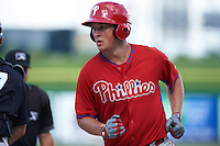 Philadelphia Phillies Greg Pickett (28) crosses home after hitting a home run during an Instructional League game against the New York Yankees on September 27, 2016 at Bright House Field in Clearwater, Florida.  (Mike Janes/Four Seam Images)