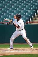 Bowie Baysox left fielder Julio Borbon (24) squares to bunt during the second game of a doubleheader against the Akron RubberDucks on June 5, 2016 at Prince George's Stadium in Bowie, Maryland.  Bowie defeated Akron 12-7.  (Mike Janes/Four Seam Images)