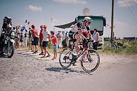 Chad Haga (USA/Sunweb) at the end of pavé sector #9<br /> <br /> Stage 9: Arras Citadelle > Roubaix (154km)<br /> <br /> 105th Tour de France 2018<br /> ©kramon