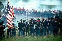 Reenactment of the Civil War Battle of Bull Run (Manassas) in Fairfax County Virginia. Site is next to the Manassas National Battlefield. Historical. Civil War Re-enactors. Centreville Virginia USA Fairfax County.
