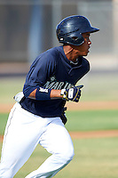 Seattle Mariners minor league infielder Ketel Marte #10 during an instructional league game against the San Diego Padres at the Peoria Sports Complex on October 6, 2012 in Peoria, Arizona.  (Mike Janes/Four Seam Images)