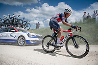 """Matteo Moschetti (ITA/trek-Segafredo) on the first gravel sector of the stage<br /> <br /> 104th Giro d'Italia 2021 (2.UWT)<br /> Stage 11 from Perugia to Montalcino (162km)<br /> """"the Strade Bianche stage""""<br /> <br /> ©kramon"""