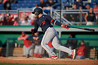State College Spikes Stanley Espinal (21) bats during a NY-Penn League game against the Batavia Muckdogs on August 24, 2019 at Dwyer Stadium in Batavia, New York.  State College defeated Batavia 1-0.  (Mike Janes/Four Seam Images)