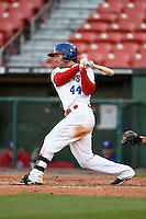 Buffalo Bisons outfielder Darin Mastroianni (44) at bat during a game against the Louisville Bats on April 29, 2014 at Coca-Cola Field in Buffalo, New  York.  Buffalo defeated Louisville 4-1.  (Mike Janes/Four Seam Images)