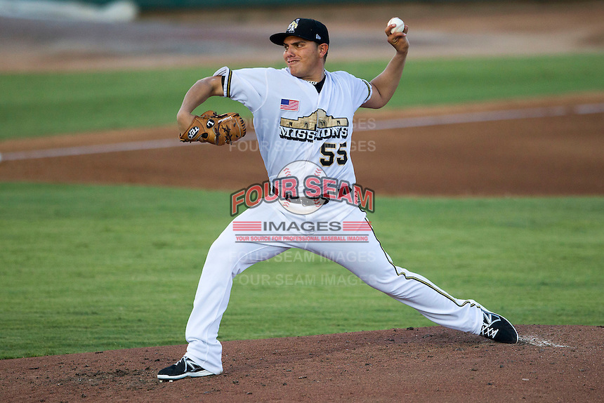 San Antonio Missions pitcher Juan Oramas (55) delivers a pitch to the plate during the Texas League baseball game against the Midland RockHounds on July 13, 2013 at Nelson Wolff Municipal Stadium in San Antonio, Texas. The Missions defeated the Rock Hounds 5-4. (Andrew Woolley/Four Seam Images)