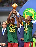 Esultanza Camerun con la Coppa <br /> Libreville ( Gabon ) 5-02-2017 Coppa Africa 2017 <br /> Finale <br /> Camerun -  Egitto <br /> Foto Boubacar / Panoramic / Insidefoto