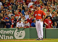 8 June 2012: Boston Red Sox Manager Bobby Valentine on the field during a game against the Washington Nationals at Fenway Park in Boston, MA. The Nationals defeated the Red Sox 7-4 in the opening game of their 3-game series. Mandatory Credit: Ed Wolfstein Photo