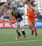 GER - Mannheim, Germany, May 25: During the U16 Boys match between The Netherlands (orange) and Germany (black) during the international witsun tournament on May 25, 2015 at Mannheimer HC in Mannheim, Germany. Final score 3-4 (1-2). (Photo by Dirk Markgraf / www.265-images.com) *** Local caption *** Tino Volkert #22 of Germany