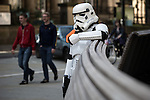 © Joel Goodman - 07973 332324 . 25/07/2015 . Manchester , UK . Visitors to Comic Con on the streets of Manchester after venue - Manchester Central's - doors are shut . Photo credit : Joel Goodman